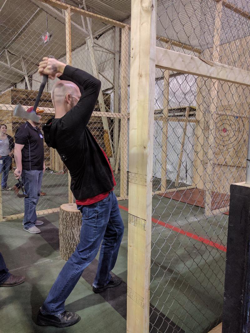 skippy is throwing axes