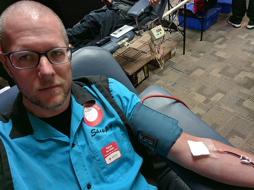 skippy is donating blood